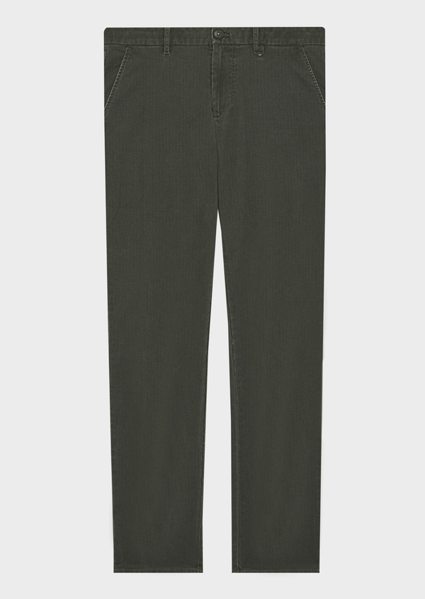 Chino slack skinny en coton stretch uni vert kaki - Father and Sons 42153