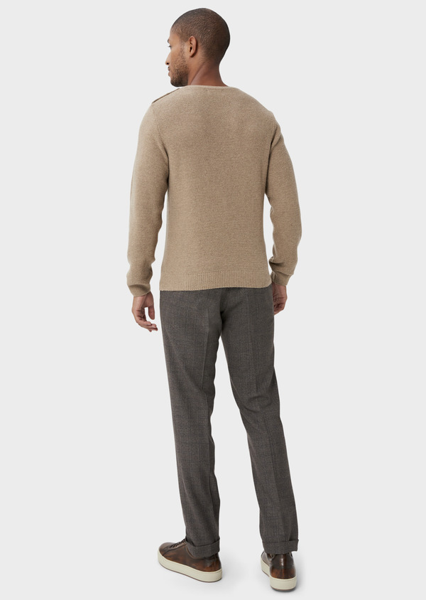 Pantalon coordonnable slim marron Prince de Galles - Father and Sons 42170