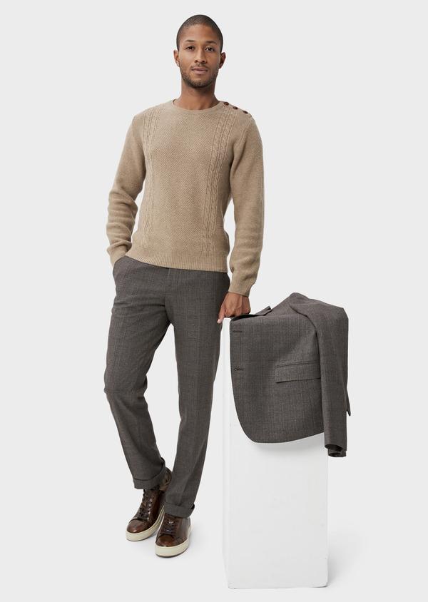 Pantalon coordonnable slim marron Prince de Galles - Father and Sons 42169