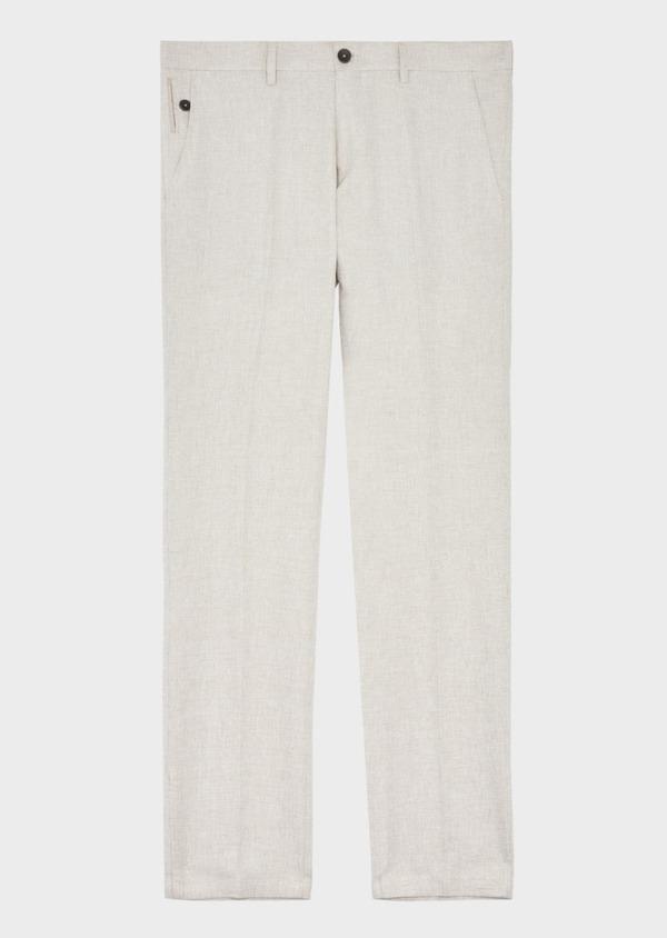 Pantalon coordonnable Slim en lin et coton uni beige - Father and Sons 40104