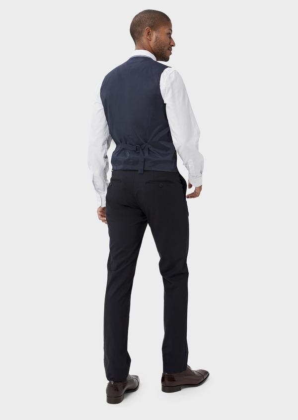 Pantalon voyage coordonnable Slim en laine bi-stretch unie bleu marine - Father and Sons 42455