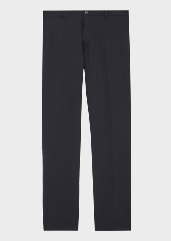 Pantalon voyage coordonnable Slim en laine bi-stretch unie bleu marine - Father and Sons 42452