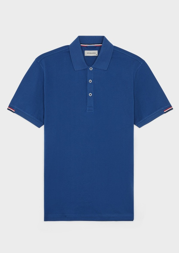 Polo manches courtes Slim en coton uni bleu - Father and Sons 40106