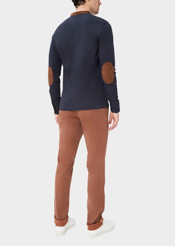 Polo manches longues Slim en coton uni bleu nuit à col Mao - Father and Sons 37328