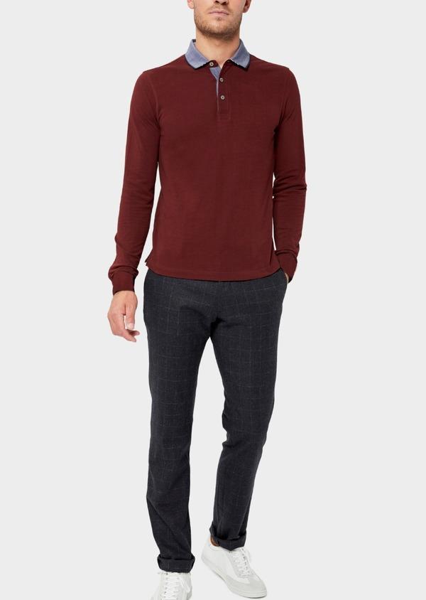 Polo manches longues Slim en coton uni bordeaux - Father and Sons 37104