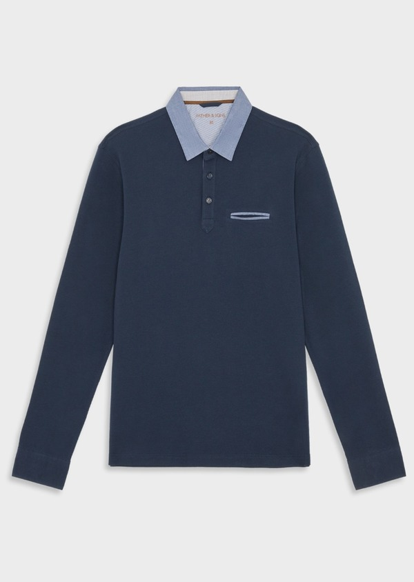Polo manches longues Slim en coton uni bleu indigo - Father and Sons 39548