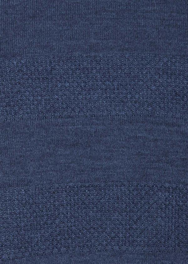 Pull col rond en laine mérinos mélangée bleue à rayures - Father and Sons 42227