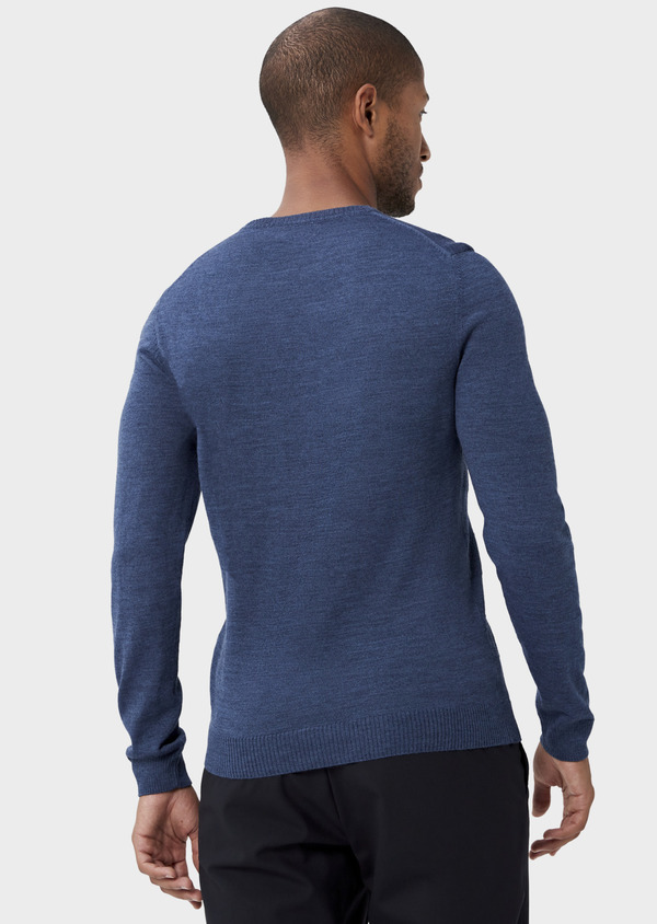 Pull col rond en laine mérinos mélangée bleue à rayures - Father and Sons 42225