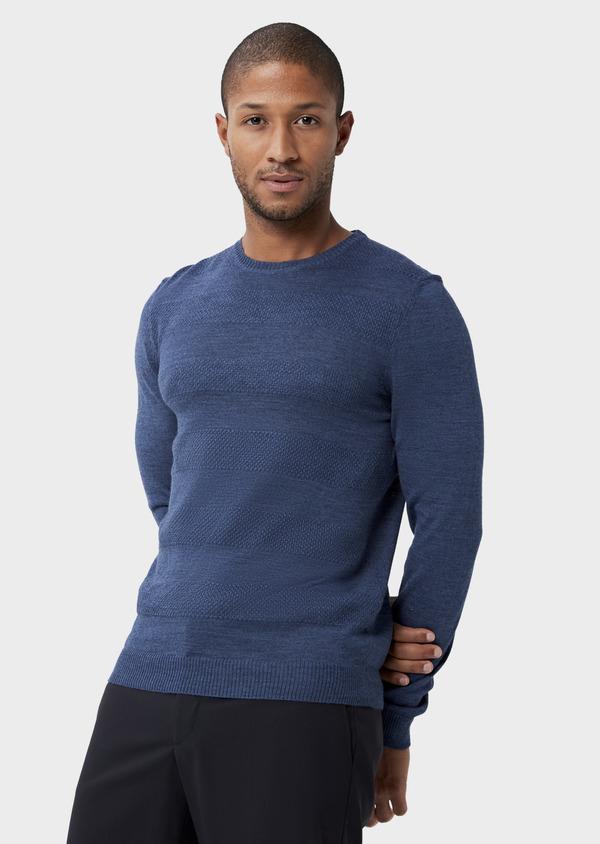 Pull col rond en laine mérinos mélangée bleue à rayures - Father and Sons 42224
