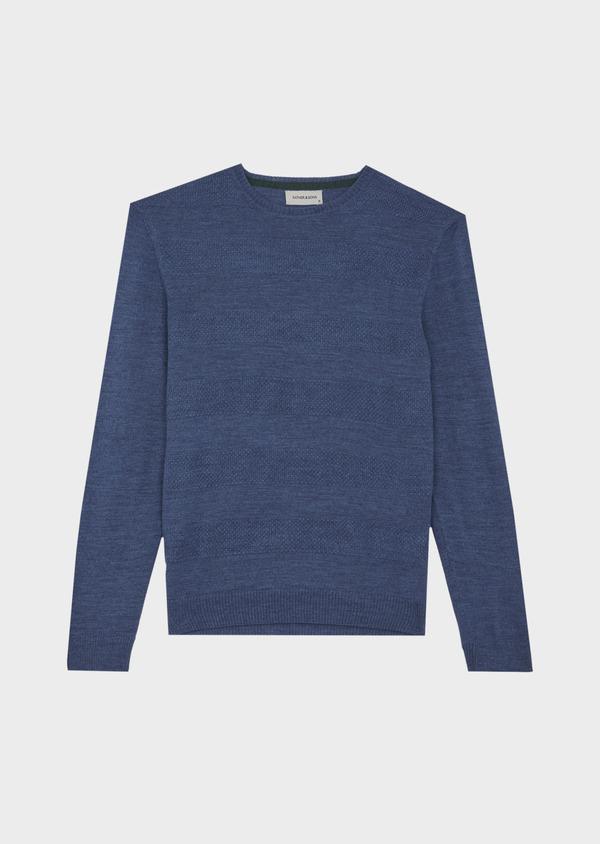 Pull col rond en laine mérinos mélangée bleue à rayures - Father and Sons 42223