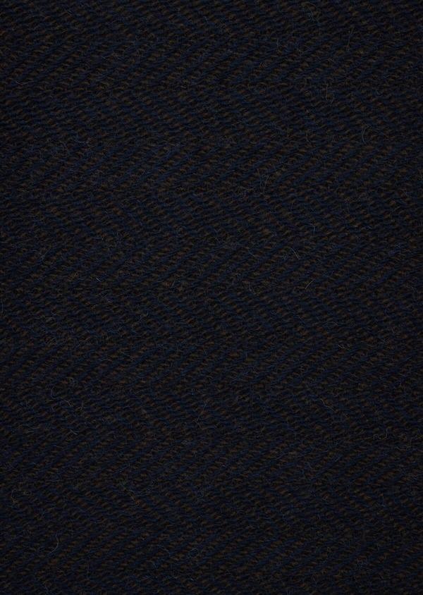 Pull col rond en laine mérinos mélangée unie bleu indigo - Father and Sons 42234