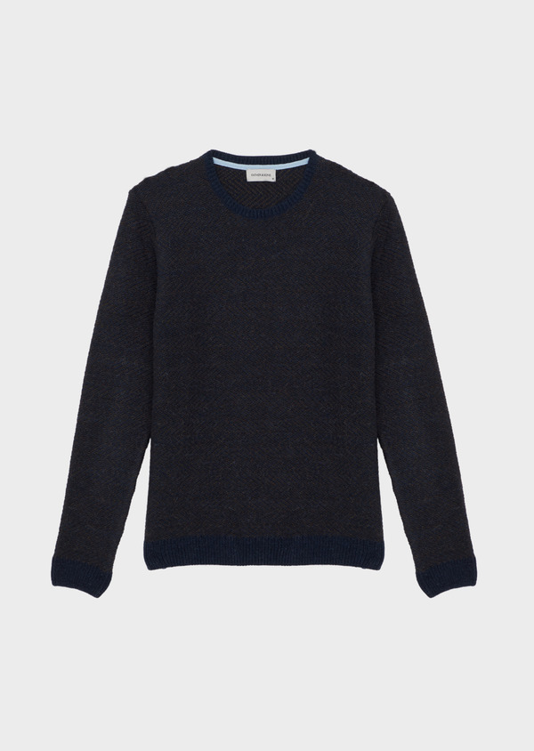 Pull col rond en laine mérinos mélangée unie bleu indigo - Father and Sons 42233