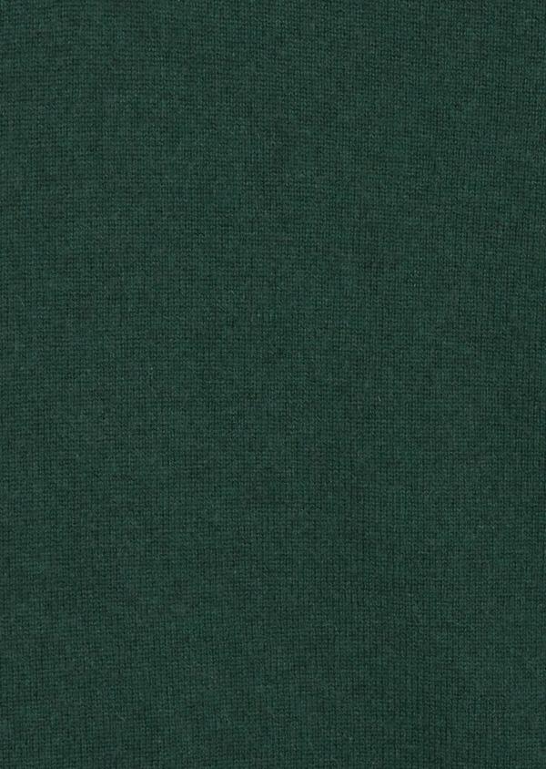 Pull col zippé en cachemire uni vert - Father and Sons 42254