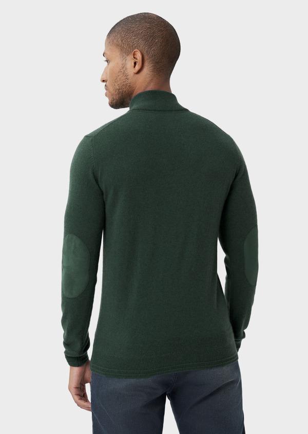 Pull col zippé en cachemire uni vert - Father and Sons 42252