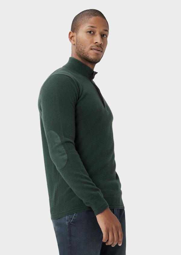 Pull col zippé en cachemire uni vert - Father and Sons 42251