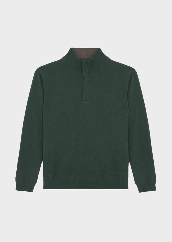 Pull col zippé en cachemire uni vert - Father and Sons 42250