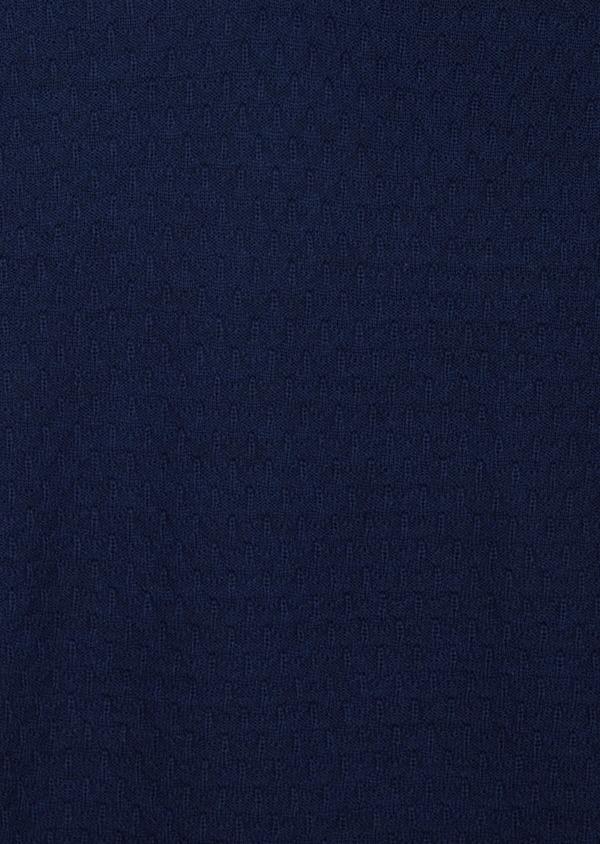 Pull col V en laine Mérinos mélangée unie bleue - Father and Sons 42081