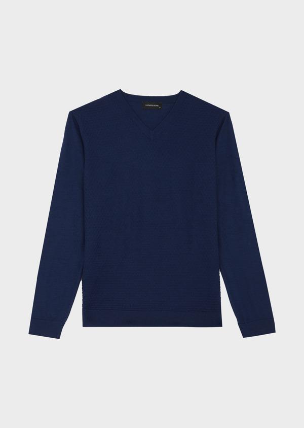 Pull col V en laine Mérinos mélangée unie bleue - Father and Sons 42080