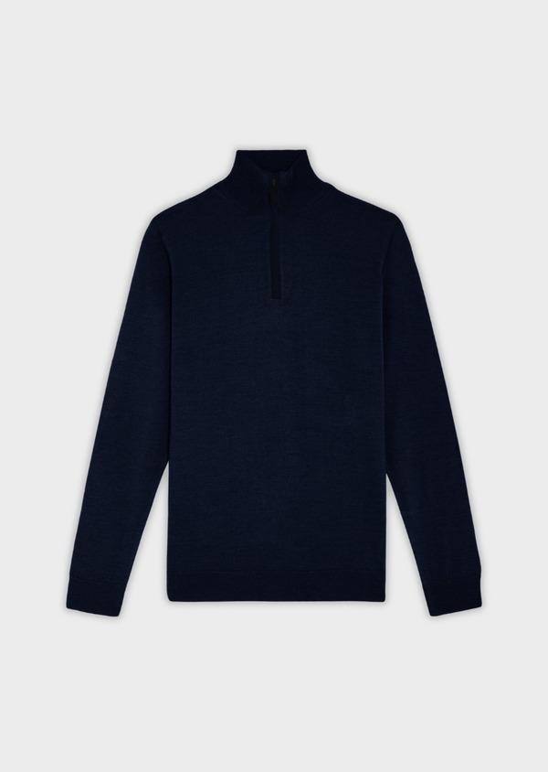 Pull en laine Mérinos mélangée col montant zippé uni marine - Father and Sons 37665