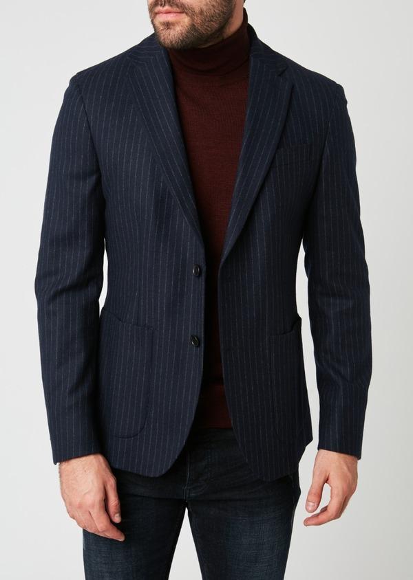 Veste coordonnable Regular en laine rayée bleu marine - Father and Sons 28236