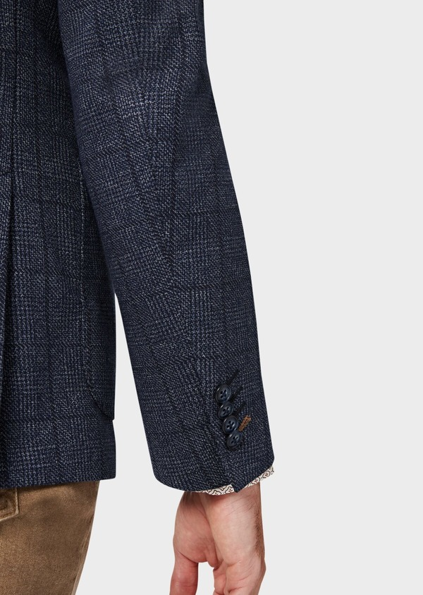 Veste coordonnable Regular en jersey bleu Prince de Galles - Father and Sons 42483