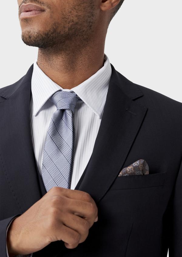 Veste de costume voyage Regular en laine bi-stretch unie bleu marine - Father and Sons 42444