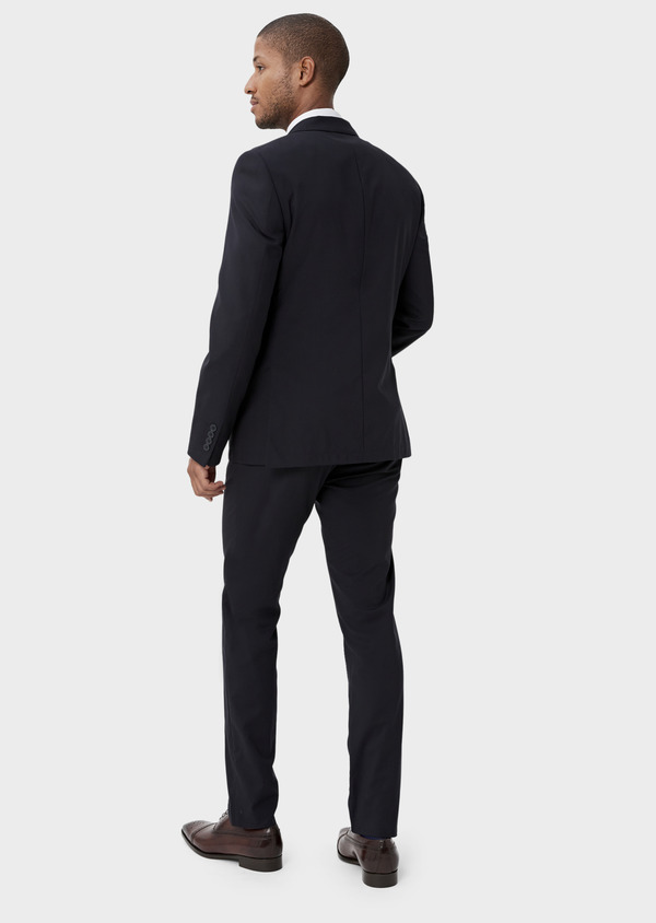 Veste de costume voyage Regular en laine bi-stretch unie bleu marine - Father and Sons 42443