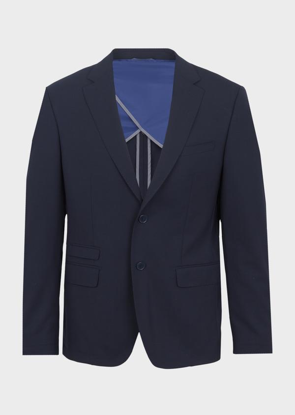 Veste de costume voyage Regular en laine bi-stretch unie bleu marine - Father and Sons 42440