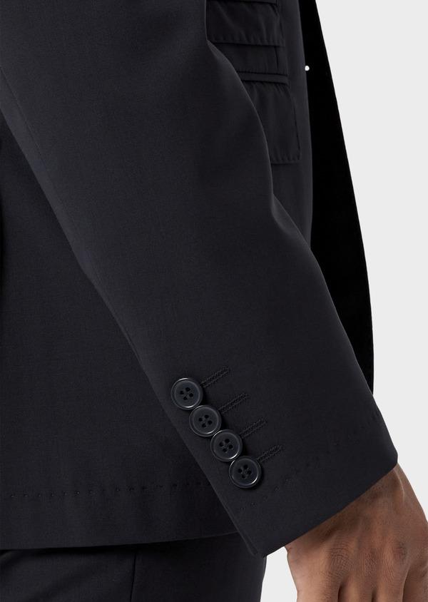 Veste de costume voyage Regular en laine bi-stretch unie bleu marine - Father and Sons 42445