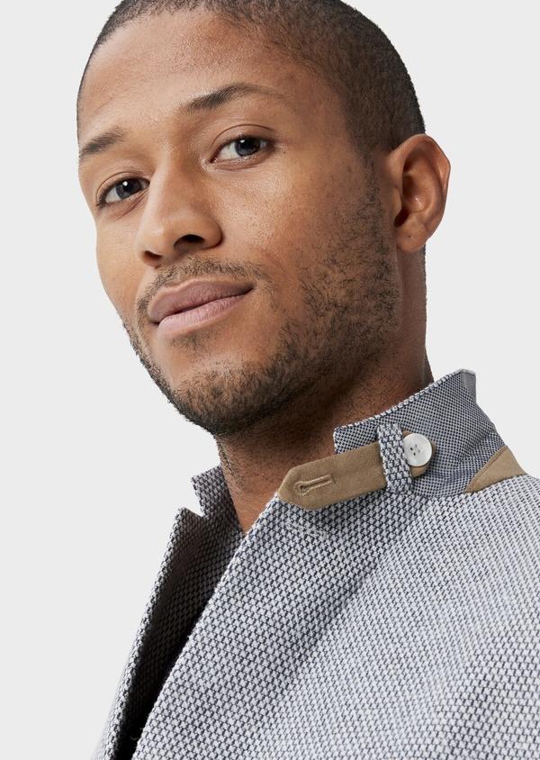 Veste casual Slim en laine mélangée grise à motif fantaisie - Father and Sons 42434