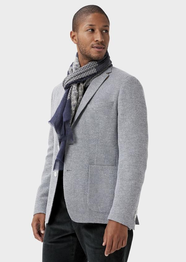 Veste casual Slim en laine mélangée grise à motif fantaisie - Father and Sons 42432