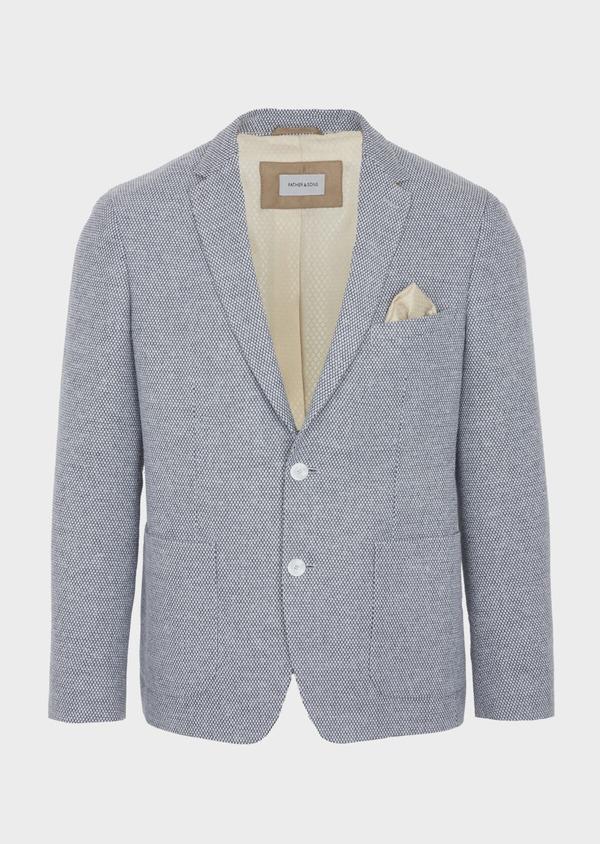 Veste casual Slim en laine mélangée grise à motif fantaisie - Father and Sons 42431