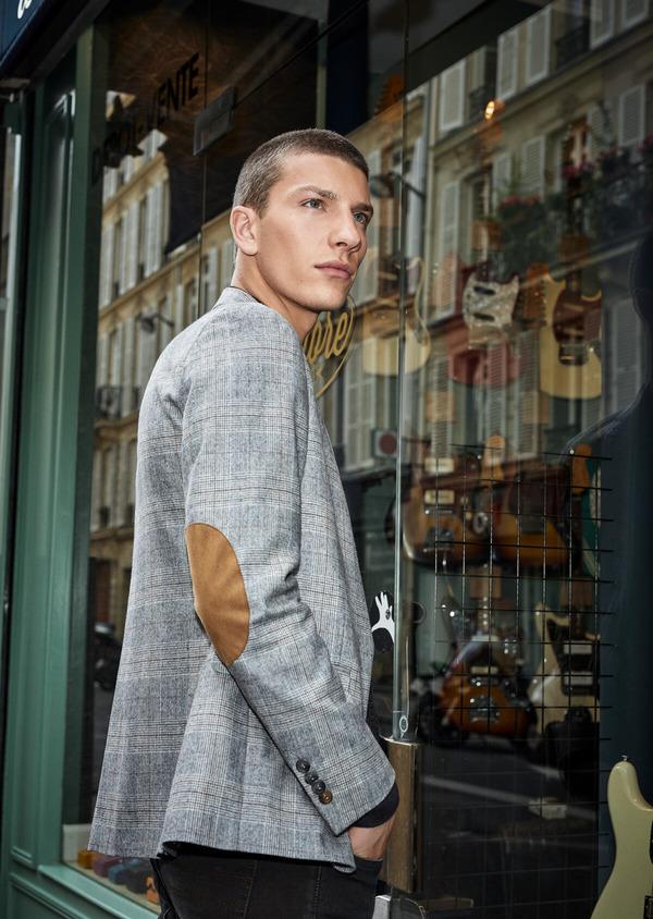 Veste casual Slim en laine mélangée gris clair Prince de Galles - Father and Sons 42500