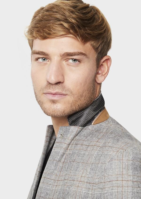 Veste casual Slim en laine mélangée gris clair Prince de Galles - Father and Sons 42504