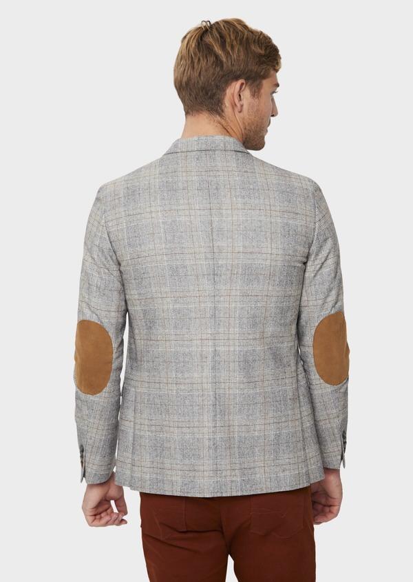 Veste casual Slim en laine mélangée gris clair Prince de Galles - Father and Sons 42503
