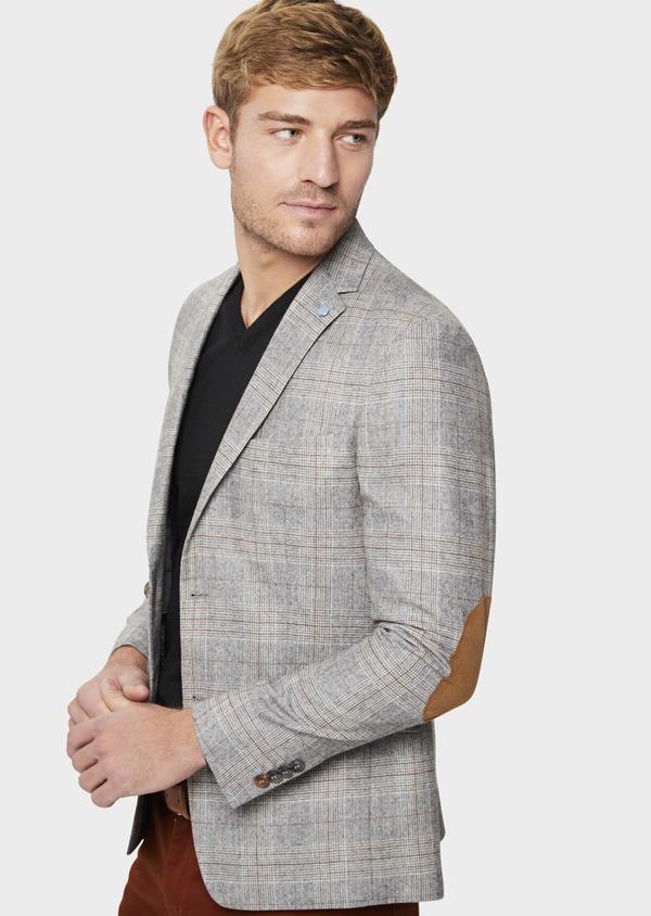 Veste casual Slim en laine mélangée gris clair Prince de Galles - Father and Sons 42502