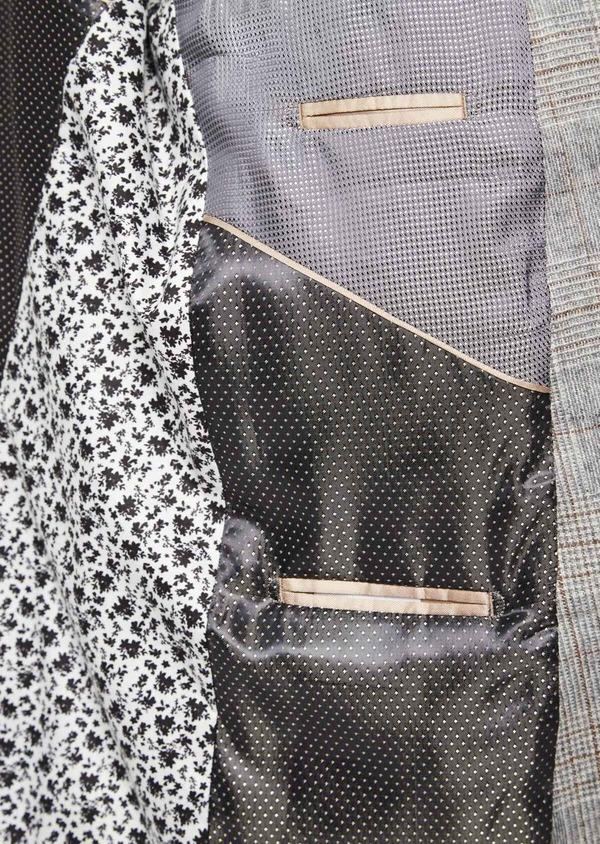 Veste casual Slim en laine mélangée gris clair Prince de Galles - Father and Sons 42506