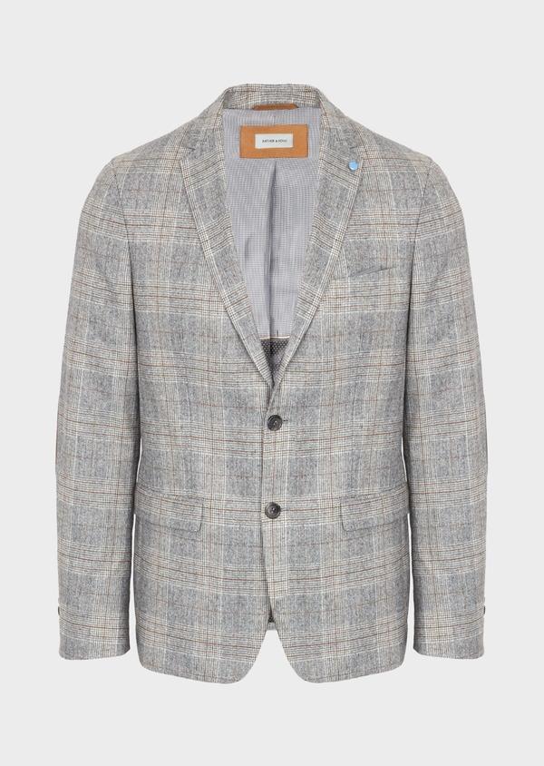 Veste casual Slim en laine mélangée gris clair Prince de Galles - Father and Sons 42501
