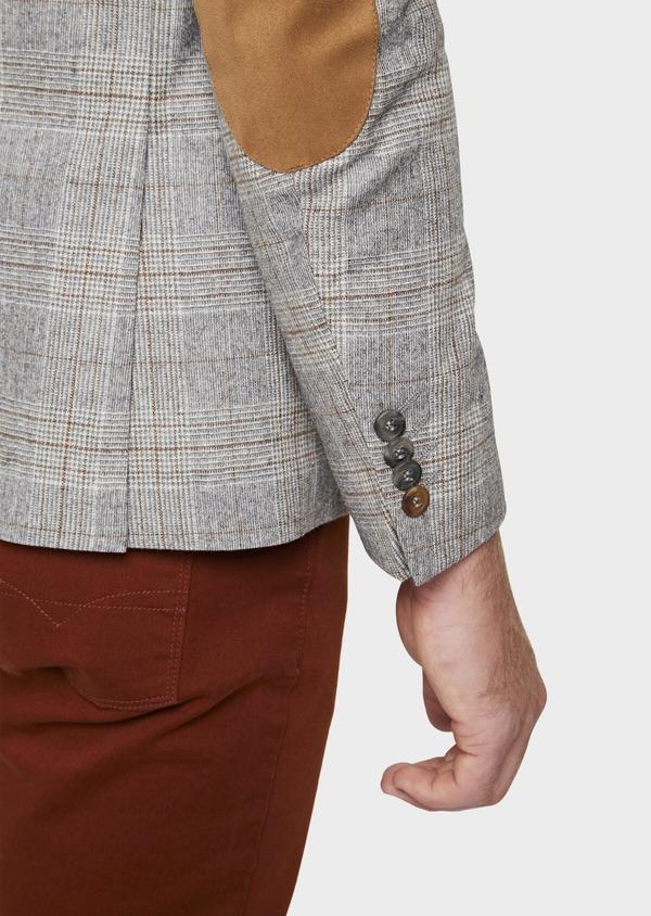 Veste casual Slim en laine mélangée gris clair Prince de Galles - Father and Sons 42505