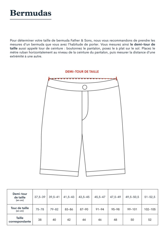 Father and Sons - Size Guide